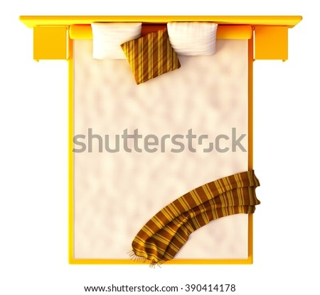 Bed Top View Isolated On White - stock photo