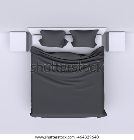 bed side view png. Bed With Blanket, Two Pillows And Bedside Tables In Empty Clean Room. Top View Side Png