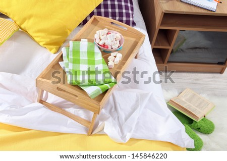 Bed with breakfast close-up