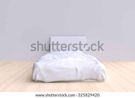 Bed with pillow and blanket in the corner room, 3d illustration. Front view. - stock photo