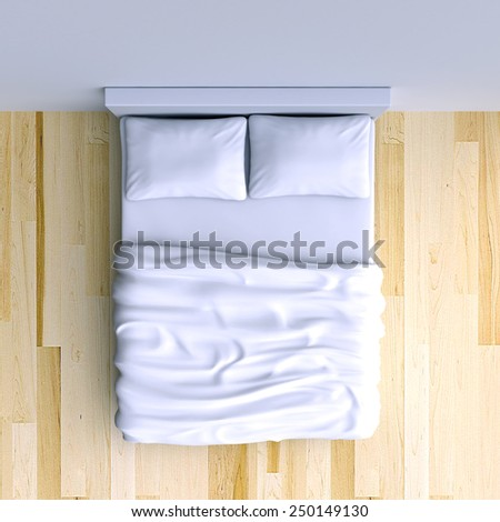 Bed with pillows and a blanket in the corner room, 3d illustration. Top view. - stock photo