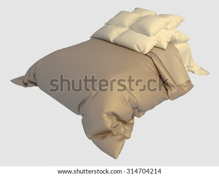 Bed with pillows and a blanket photorealistic render isolated on white - stock photo