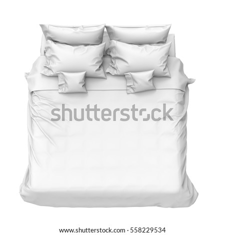 Bed with pillows. 3D Rendering.