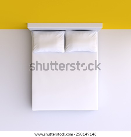 Bed with pillows in the corner room, 3d illustration. Top view. - stock photo
