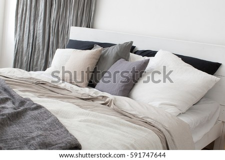 Bedroom Interior Bed Bedside Table Plant Stock Photo 640041676