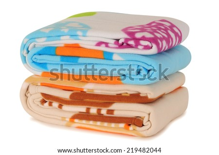 Bedding objects against white background. - stock photo