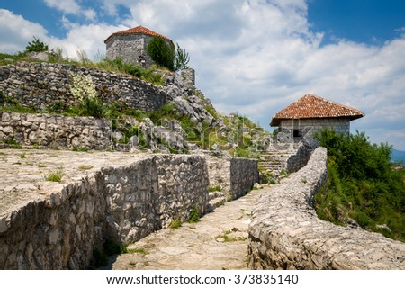Bedem big medieval fortress stairs to the top floors. Niksic city, Montenegro