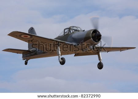 BEDFORDSHIRE, UK - AUGUST 7: Percival Provost (XF603) in flight at the Airshow on August 7, 2011 at Shuttleworth, Old Warden Park, Bedfordshire, UK.