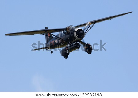 BEDFORDSHIRE, UK - MAY 19: Westland Lysander IIIA (G-AZWT / V9367) in flight at the Airshow on May 19, 2013 at Shuttleworth, Old Warden Park, Bedfordshire, UK.