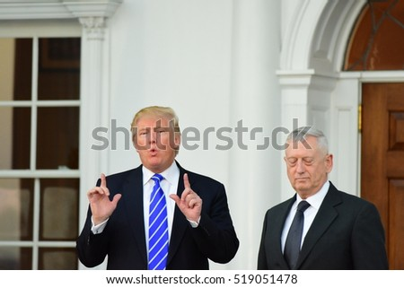 BEDMINSTER, NEW JERSEY - 19 NOVEMBER 2016: President-elect Donald Trump & Vice President-elect Mike Pence met with potential cabinet members at Trump International. Marine General James Mattis