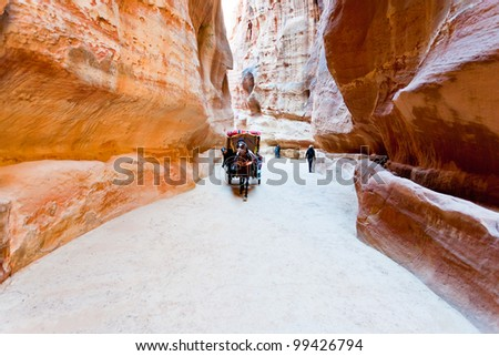 bedouin carriage in Siq passage to Petra city, Jordan - stock photo