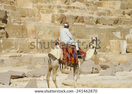 Bedouin near Giza Pyramids - Cairo - stock photo