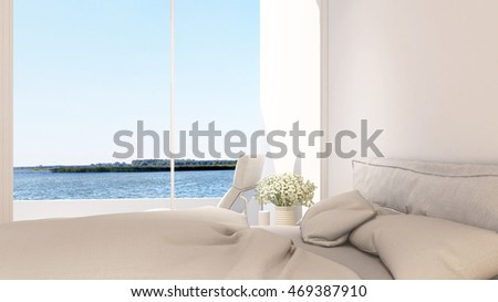 bedroom and terrace view in hotel - 3D Rendering