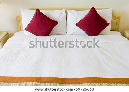 Bedroom bed - stock photo