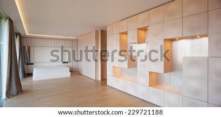 bedroom, bed, minimal,  - stock photo