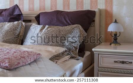 bedroom decor interior home style - stock photo