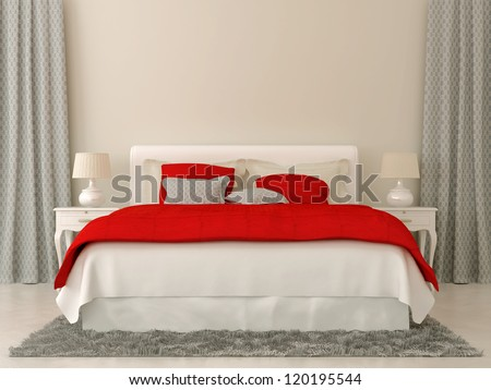 Bedroom decorated in red and grey  bedspread and curtains in Christmas style - stock photo