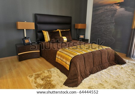 Bedroom decoration in a modern apartment - stock photo