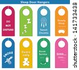 Bedroom Door Hanger Sleep Signs 8 styles, brights: Do Not Disturb, ZZZs, Sweet Dreams, Dream catcher, Beauty Sleep, Mask, Snore, Sawing logs, Teddy Bears Only, Room Service, Milk, Cookie, SHHH... - stock vector