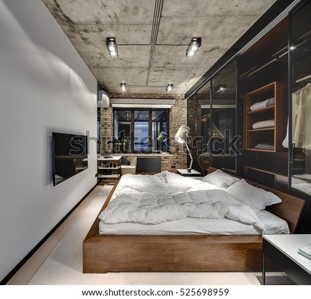 Bedroom Loft Style Brick Wall Concrete Stock Photo