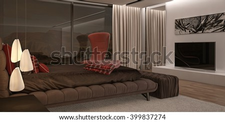 Bedroom in Brown Colors with Double Bed 3D rendering Camera 4 Evening
