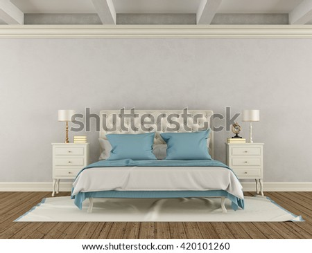 Bedroom in classic style with white double bed and nightstand - 3d rendering