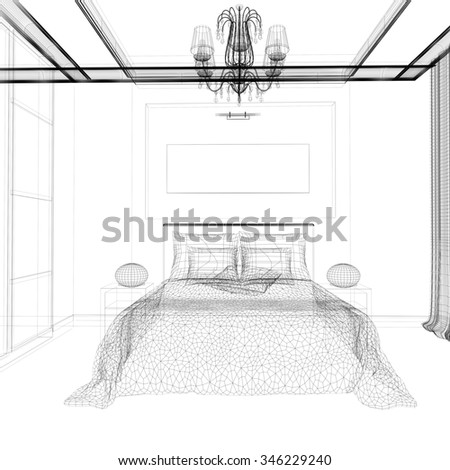 Bedroom in contemporary style 3 d rendering