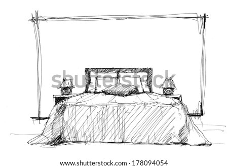 Bedroom in contemporary style (sketch image)