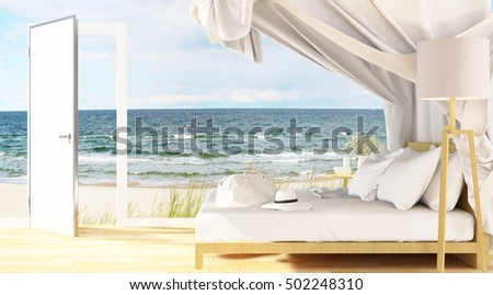 bedroom in hotel or residence sea view  - 3D Rendering