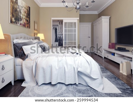 Bedroom in neoclassicism style. 3d images