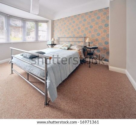 bedroom in newly converted house clean design modern - stock photo
