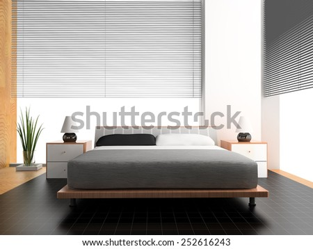 Bedroom in rural style 3d rendering