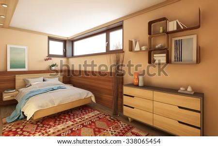 Bedroom In Village House - stock photo