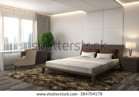 Bedroom interior  3d illustration. Bedroom Stock Images  Royalty Free Images   Vectors   Shutterstock
