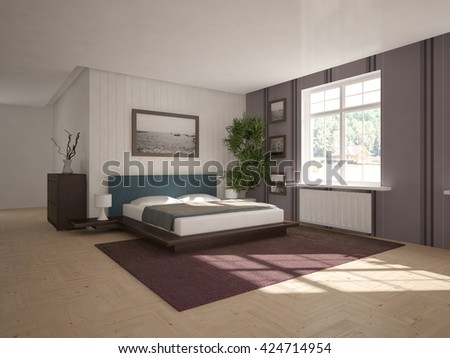 bedroom interior -3D illustration - stock photo