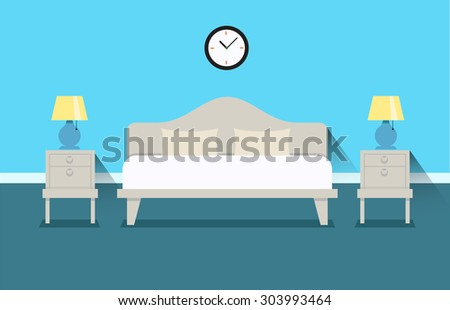 Bedroom interior design illustration. Bed with bedside tables and night lamps. The interior of the bedroom or the apartment. Bedroom at the hotel.