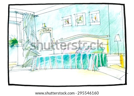 bedroom interior drawing by pencil with bed and a window - stock photo