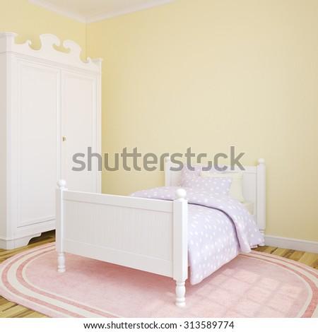 Bedroom interior for girl. 3d render. - stock photo