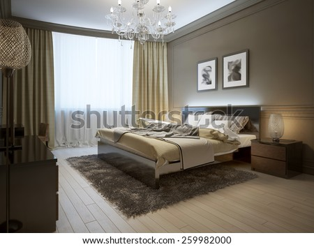 Bedroom interior in modern style, 3d images - stock photo