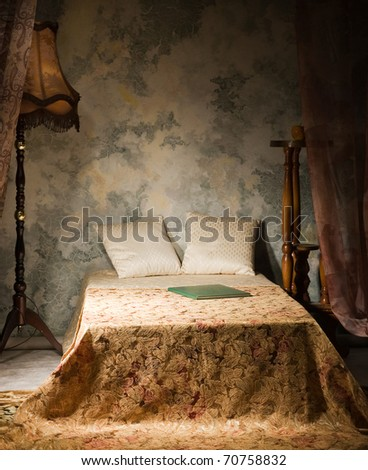 Bedroom interior in the vintage style - stock photo