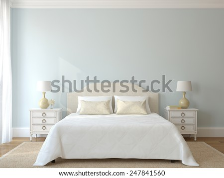 Bedroom interior. Provance. 3d render. - stock photo