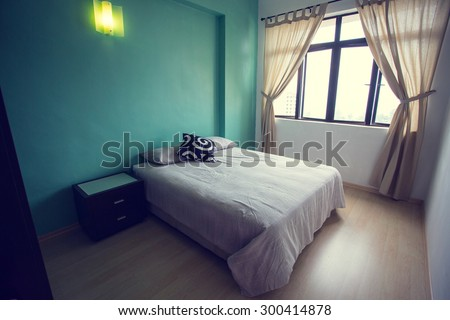Bedroom interior vintage ,guest house for cutomer. - stock photo