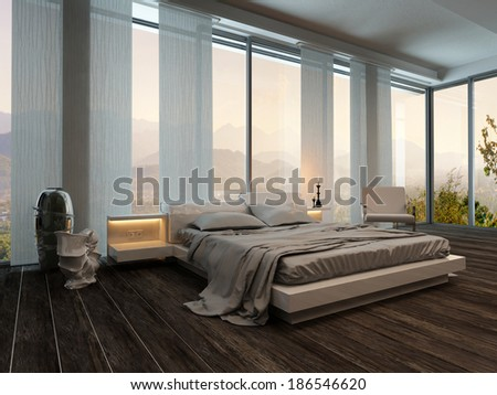 Bedroom interior with curtains and nice landscape view - stock photo