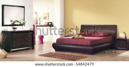 bedroom interiors - stock photo