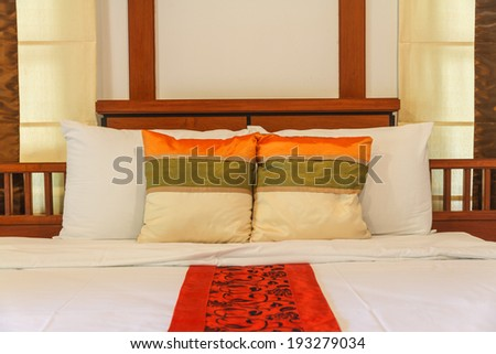 Bedroom luxury design and pillow in hotel.