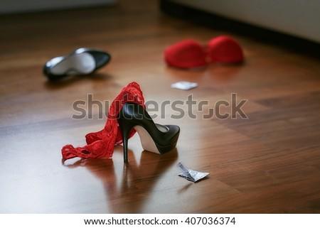 Bedroom Mess Lingerie Shoes Quick Sex Stock Photo