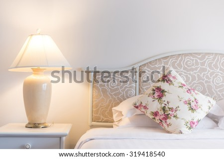 Bedroom modern design with furnishing - stock photo