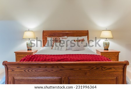 Bedroom modern interior design with furnishings - stock photo