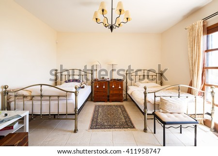 Bedroom of the typical spanish house in Mallorca