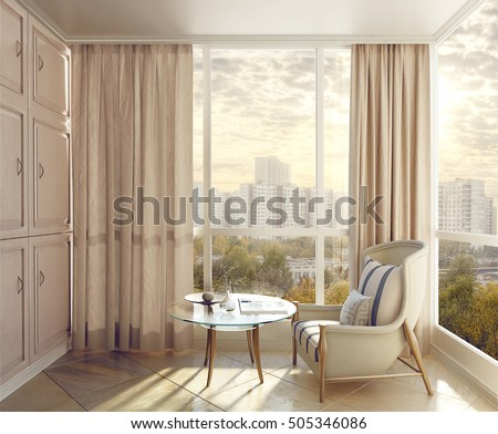 bedroom seating. Bedroom seating area in sunlight with views of the city  3d illustration Seating Area Sunlight Views City Stock Illustration